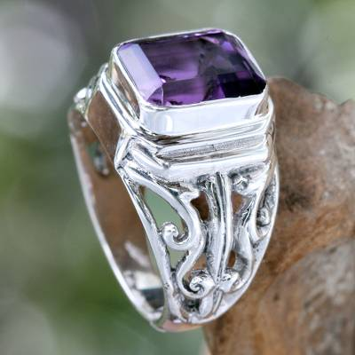 Mens amethyst ring, Wisdom Warrior