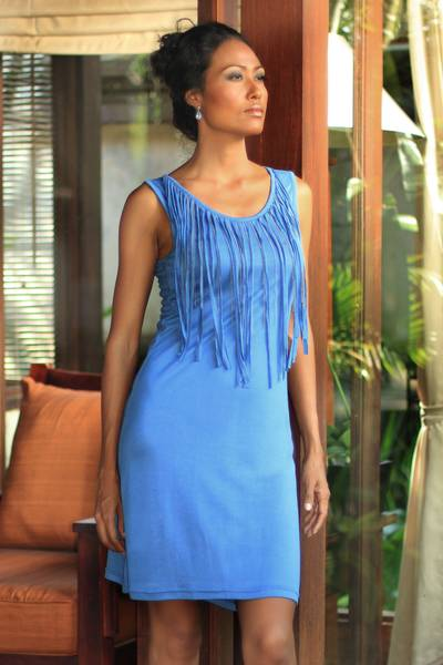Jersey dress, 'Blue Shimmy' - Fair Trade Jersey Dress with Fringe