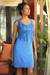 Jersey dress, 'Blue Shimmy' - Fair Trade Jersey Dress with Fringe thumbail