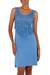 Jersey dress, 'Blue Shimmy' - Fair Trade Jersey Dress with Fringe (image 2a) thumbail