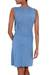Jersey dress, 'Blue Shimmy' - Fair Trade Jersey Dress with Fringe (image 2b) thumbail