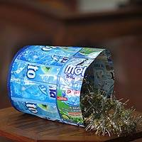 Recycled wrapper trash bin, 'Cool Blue' - Recycled wrapper trash bin