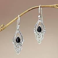 Onyx dangle earrings, 'Black Fern' - Sterling Silver and Onyx Dangle Earrings