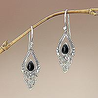 Onyx dangle earrings, 'Black Fern' - Sterling Silver and Onyx Dangle Earrings
