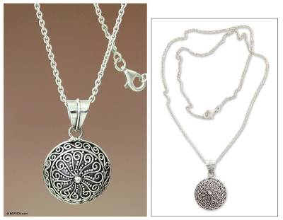 Sterling silver pendant necklace, 'Fern Flower Talisman' - Handcrafted Sterling Silver Pendant Necklace