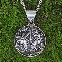 Sterling silver pendant necklace, Fern Flower Charm