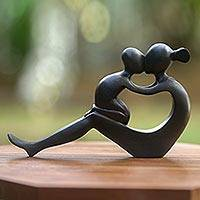 Wood sculpture, 'Her Love Will Never End' - Handcrafted Mother and Child Wood Sculpture