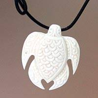 Pendant necklace, 'Bali White Sea Turtle'