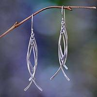 Sterling silver dangle earrings, 'Winter Twigs' - Handmade Sterling Silver Dangle Earrings