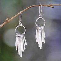 Sterling silver chandelier earrings, 'Feather Cascade'