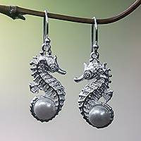 Pearl dangle earrings, 'Sea Horse Treasure' - Unique Sterling Silver and Pearl Dangle Earrings