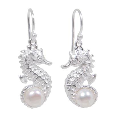 Unique Sterling Silver and Pearl Dangle Earrings