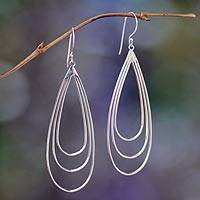 Sterling silver dangle earrings, 'Tears of Joy' - Sterling Silver Dangle Earrings