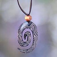 Bone pendant necklace, 'Life's Energy' - Bone pendant necklace