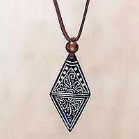 Bone pendant necklace, 'Ethnic Elite'