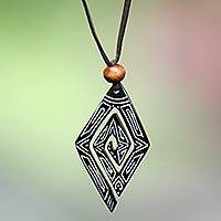 Bone pendant necklace, Glyphs
