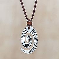 Bone pendant necklace,