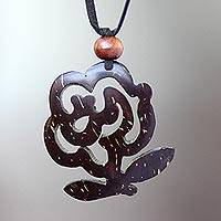 Coconut shell floral necklace, 'Java Rose' - Handmade Floral Coconut Shell Necklace