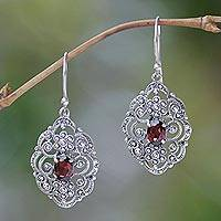 Garnet dangle earrings, 'Kuta Princess' - Fair Trade Sterling Silver and Garnet Dangle Earrings