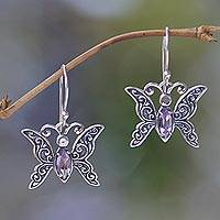 Amethyst dangle earrings, 'Petite Butterfly' - Indonesian Sterling Silver and Amethyst Dangle Earrings
