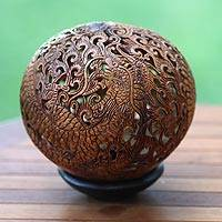 Coconut shell sculpture, 'Balinese Dragon King' - Artisan Crafted Coconut Shell Sculpture