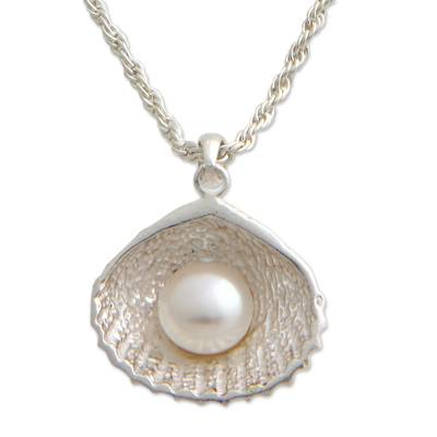 Hand Made Pearl and Sterling Silver Pendant Necklace
