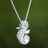 Cultured pearl pendant necklace, 'Sea Horse Treasure' - Sterling Silver and Pearl Pendant Necklace