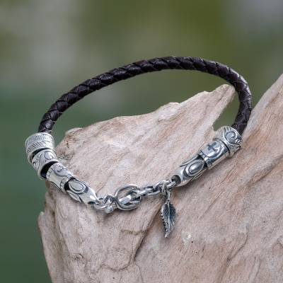 Leather braided bracelet, 'Angel of Nature in Brown' - Floral Leather and Sterling Silver Bracelet