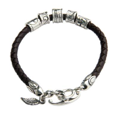 Floral Leather and Sterling Silver Bracelet