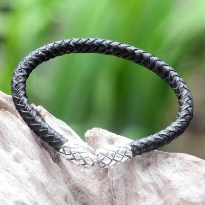 Leather braided bracelet, 'Rattle Snake Tales' - Unique Leather Braided Bracelet