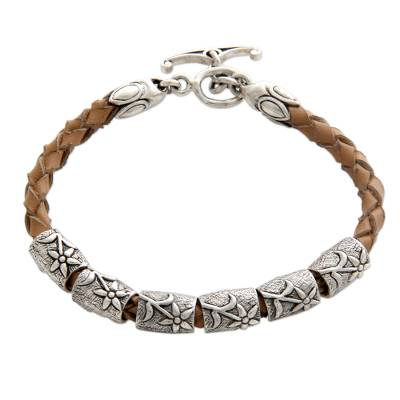 Silver and Braided Leather Bracelet from Indonesia