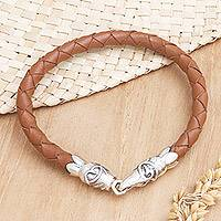 Leather braided bracelet, 'Midsummer Joy' - Sterling Silver and Leather Braided Bracelet
