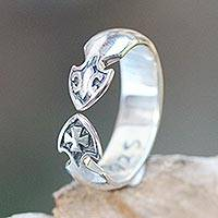 Sterling silver band ring, 'Heraldry' - Sterling Silver Wrap Ring