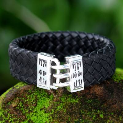 Men's leather braided bracelet, 'Tribal Warrior' - Men's Leather and Sterling Silver Wristband Bracelet