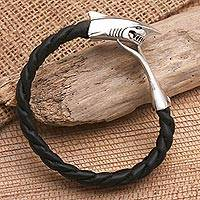Men's leather bracelet, 'Shark' - Men's Leather and Sterling Silver Bracelet