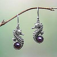 Cultured pearl dangle earrings, 'Sea Horse Legend' - Indonesian Sterling Silver and Pearl Dangle Earrings