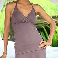 Jersey halter top, 'Tropical Cocoa' - Jersey halter top