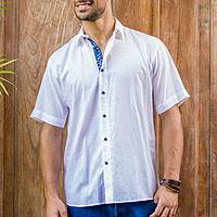 Men's cotton shirt, 'White Lombok' - Men's Short Sleeve Cotton Shirt