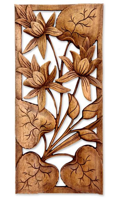 Wood relief panel, 'Love Lotus' - Hand Crafted Wood Floral Relief Panel