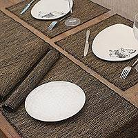 Natural fibers and cotton table runner and placemats, 'Nature of Black' (set of 4) - Natural Fiber Table Runner and Placemats (Set of 4)