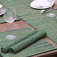 Natural fibers and cotton table runner and placemats, 'Nature of Green' (set of 4) - Green Fiber Table Runner and Placemats
