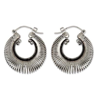 Handcrafted Modern Sterling Silver Hoop Earrings