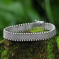 Men's sterling silver bracelet, 'The Hero' - Men's Sterling Silver Chain Bracelet