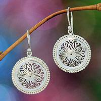 Sterling silver flower earrings, 'Paradise Bloom' - Floral Sterling Silver Dangle Earrings