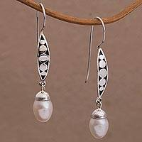 Cultured pearl dangle earrings, 'Paradise Blooms' - Balinese Artisan Crafted Sterling Silver and Pearl Earrings