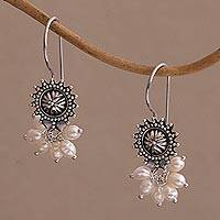 Cultured pearl dangle earrings, 'Femme Fatale' - Artisan Crafted Sterling Silver and Pearl Earrings