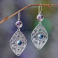Amethyst and blue topaz dangle earrings,