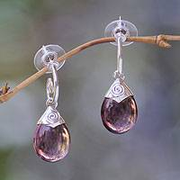 Interchangeable amethyst,blue  topaz and rutile quartz earrings, Mood Trio