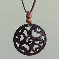 Coconut shell pendant necklace, 'Like a Flower' - Hand Made Floral Coconut Shell Pendant Necklace