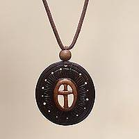 Coconut shell flower necklace, 'Cross of Life' - Handcrafted Coconut Shell Pendant Necklace